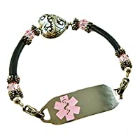 "Medical Alert Heart's Embrace Beaded Bracelet, FREE Engraving, Sizes 6.75"" to 9.5"" by Creative Medical ID"