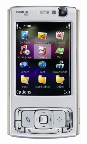 Nokia N95 Unlocked Cell Phone with 5 MP Camera, International 3G, Wi-Fi, GPS, MP3/Video Player, MicroSD Slot–International Version with Warranty (Silver/Plum)