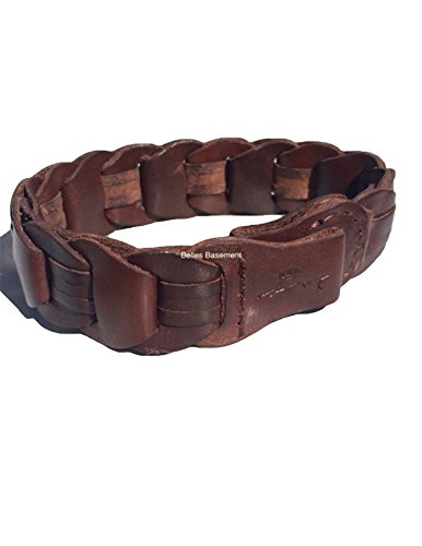 Tommy Bahama Men's Wide Brown Braided Leather Bracelet Wristband One Size