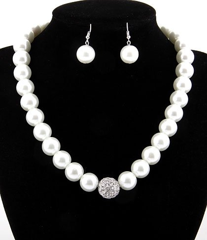 White Faux Pearl Hook Earrings & Necklace Set ~ Fashion Jewelry