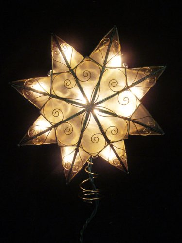 8″ Lighted Capiz Shell 8-Point Gold Star Christmas