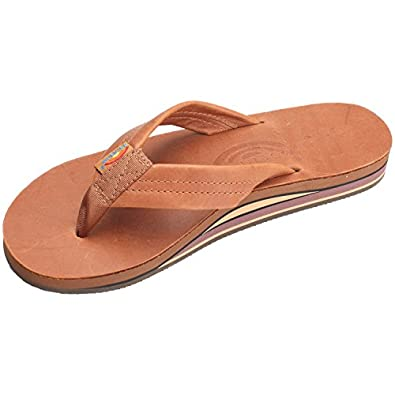 Rainbow Sandals Men's Double Layer Leather Sandal,Small / 7.5-8.5 D(M) US,Classic Tan Brown