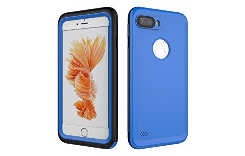 Iphone 7 Plus 防水電話ケースは、HBER IP68完全密閉水泳ダイビング水中防塵耐雪性の耐震ヘビーデューティケースカバーは、iphone7 plusのために敏感な画面タッチ指紋認証ロック解除をサポートしています (藍色)