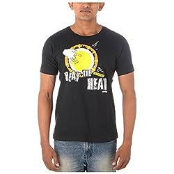 Chennai Gaga Men's Round Neck Cotton T-shirt Beat the heat 113-3-841-Black-XL