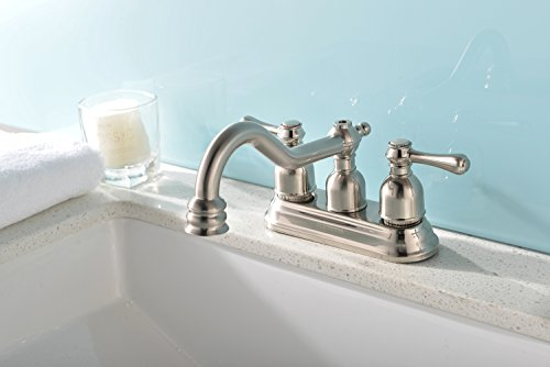 VCCUCINE Antique Victoria Brushed Nickel Double Handles Bathroom Faucet, Lavatory Vanity Sink Faucet Without Matching Pop-Up Drain Trim Assembly (Antique Nickel Faucet compare prices)
