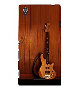 printtech Wooden Guitar Back Case Cover for Sony Xperia T3