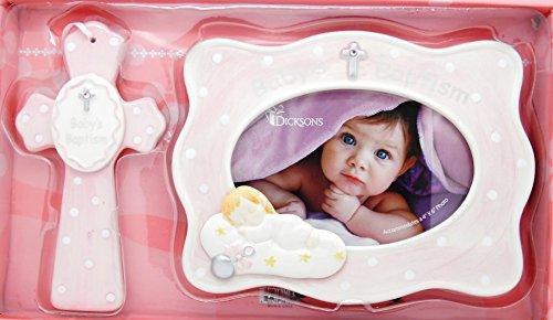 "Girl Baby's Baptism 4"" X 6"" Frame & 7"" Cross Gift Set - PINK - 1"