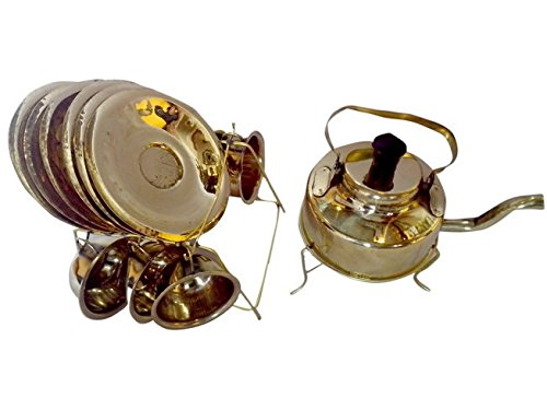 Brass Decorative Tea Set Including saucers, Cups, and Kettle by Fine Work India by Bharat Haat BH00108
