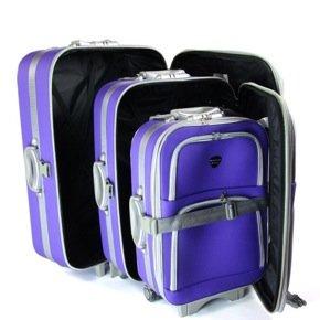 3er Softcase Kofferset Trolleys Lila/violett