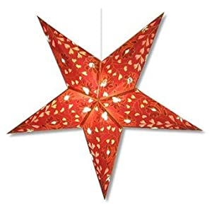 Star Lights - Burgundy Hearts and Flowers Paper Star Lamp/Lantern