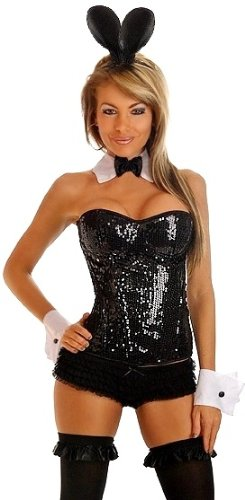 Daisy Corsets 4 PC Sequin Pin-Up Sexy Bunny Halloween Costume