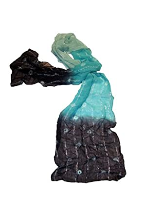Chiffon Silk Style Scarf With Interwoven Metallic Thread - Blue