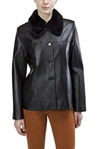 Womens 3/4 Length Fur Collar Genuine Leather Jacket