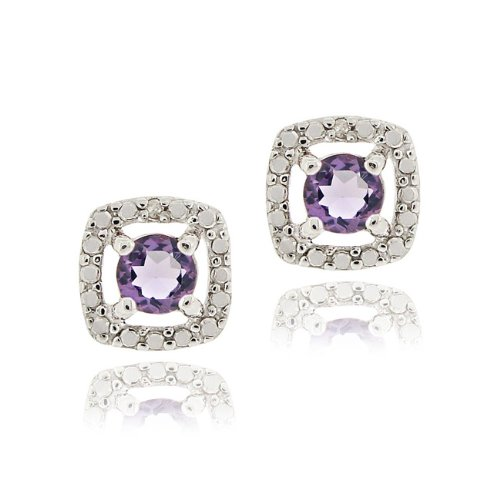 Sterling Silver Amethyst & Diamond Accent Square Stud Earrings