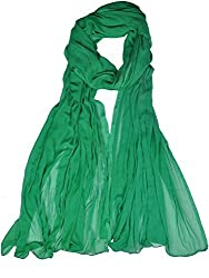 Womens Cottage Forest Green Solid (Plain) Pure Chiffon Dupatta with Pom Pom Lace