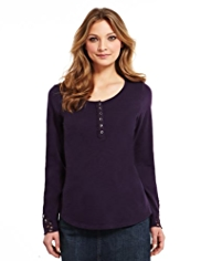Indigo Collection Pure Cotton Henley Neck Crochet Trim Top
