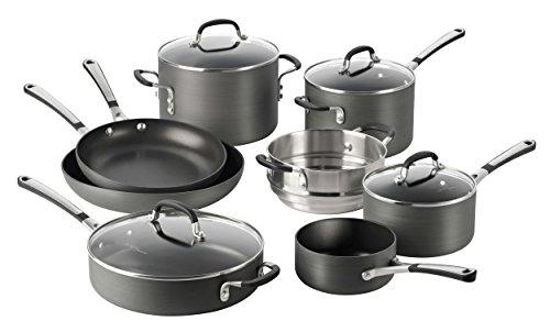 Calphalon 12 Piece Hard-Anodized Aluminum Nonstick Cookware Set, Large, Black (4 1 2 Quart Stock Pot compare prices)