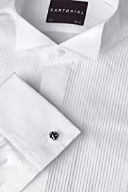 "2"" Longer Sartorial Pure Cotton Pleated Dress Shirt"