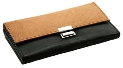 Elegante Kellnergeldbörse aus echtem robustem Leder - Attraktives Farbspiel aus Schwarz und Braun - Abschließbar - Durchdachte Aufteilung