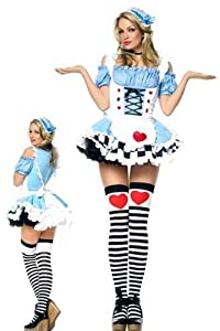 Leg Avenue Women' S 2 Piece Miss Wonderland Includes Headpiece And Apron With Ruffled Back, Blue, Large