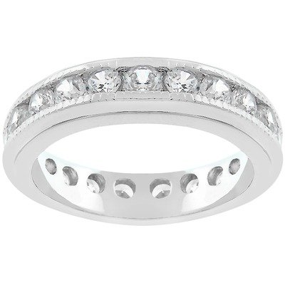 Silver-Tone and Clear Cubic Zirconia Eternity Band Size: 8
