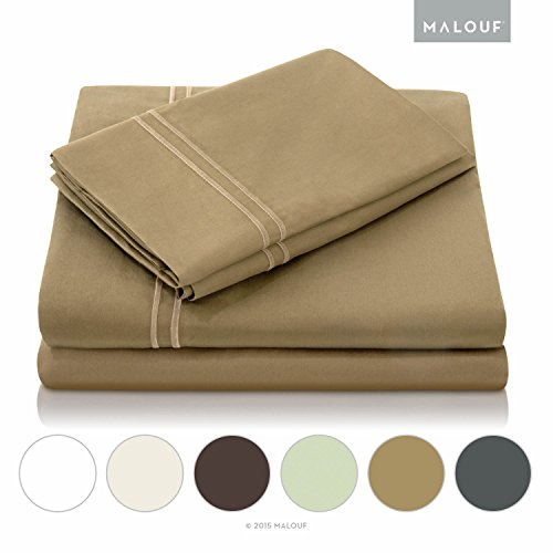 MALOUF 400 Thread Count Genuine Egyptian Cotton Bed Sheet Set - Khaki - Cal King (Thick Cotton Sheets compare prices)