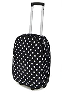 Cabin Approved 18inch Lightweight Hand Luggage, Ryanair/Easyjet/BA Cabin Approved Wheeled Trolley Suitcase Bags, Trolley Wheeled Luggage Bags fits 55x40x20cm & 50x40x20cm carry on small baggage. (Black/Polka Dot)