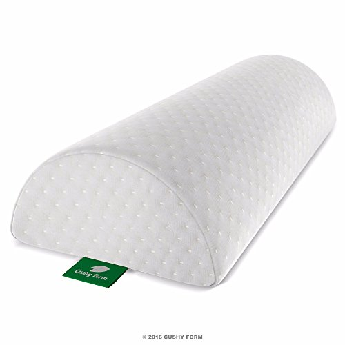 Back Pain Relief Half-Moon Bolster / Wedge - Provides Best Support for Sleeping on Side or Back - Memory Foam Semi-Roll Pillow with Washable Organic Cotton Cover (Large, White) (Multiple Position Pillow compare prices)