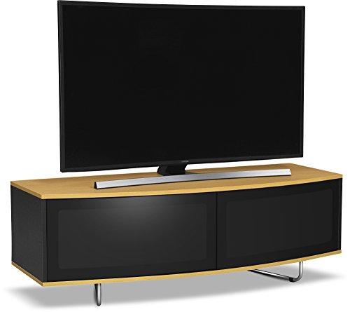 """Centurion Supports Caru gloss TV / OLED / LCD fascio-Thru amichevole remoto super contemporaneo """"D"""" forma disegno da 32 """"-65"""" LED bianco e rovere gabinetto"""