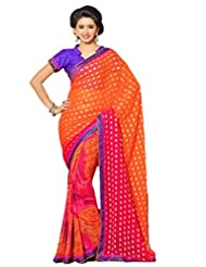AG Lifestyle Orange Faux Georgette & Jacquard Pallu Saree With Unstitched Blouse ELG8008