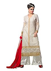 Prenea Women's white unstitched embroidery work unstitched Salwar Suit