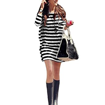 Allegra K Ladies Scoop Neck Long Sleeves Pocket Front Loose Casual Striped Shirt