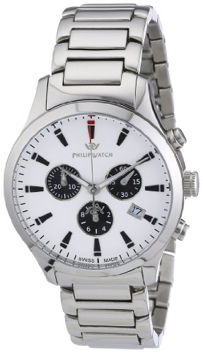 Philip Men's Liberty Chronograph Watch R8273600045 with Quartz Movement, White Dial and Stainless Steel Case