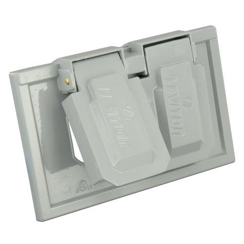 Leviton 4970 1-Gang Duplex Device Weather-Resistant Cover, Die-Cast Zinc, Device Mount, Horizontal, Gray