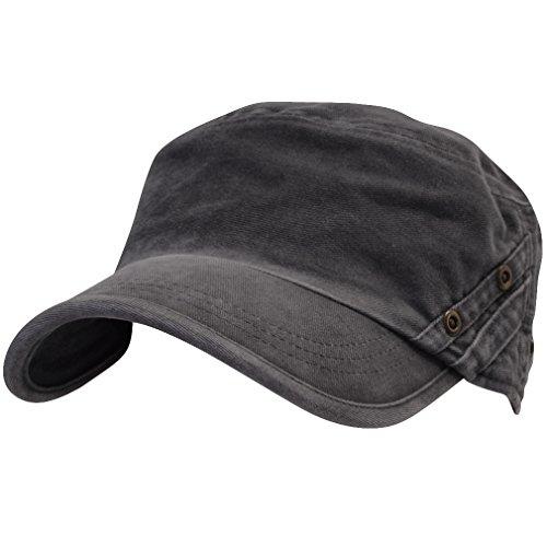 3136720102d4a ililily Vintage Cotton Cadet Cap Military Army Camo style Hat cadet 004 1  Gray One Size