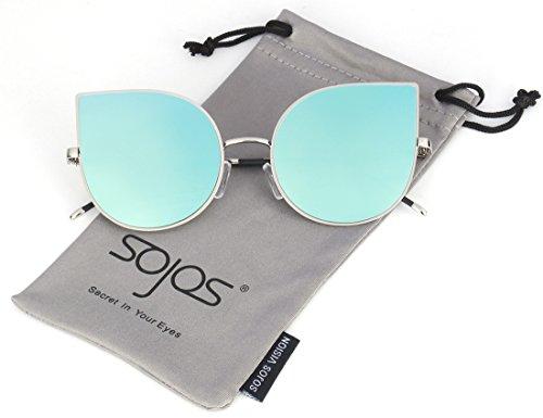 SojoS Cat eye mirrored flat lenses Ultra Thin Ultra Light metal frame women Sunglasses SJ1022 With Blue Lens (Light Blue Sunglasses compare prices)