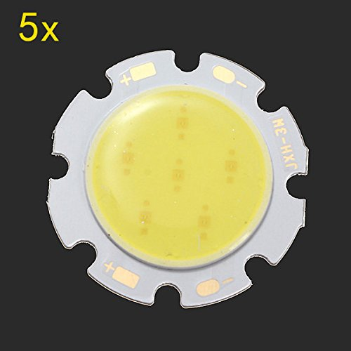 Bazaar 5pcs 3W bianco pannocchia rotondo LED smd lampada di chip 6000-6500k 28 millimetri