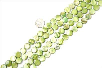 11mm coin gemstone light-green shell beads strand 15