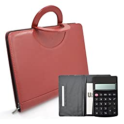 Leather Portfolio Organizer,izBuy PU Office Folio Organizer&Professional Documents Binder Case-Best Tools for Interview,Job & & Business with Zippered Closure,10 Leaflets & Calculator Included (Red)