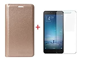 RIdhaniyaa (COMBO OFFER ) For Xiaomi Redmi 3S Prime - Premium Durable Leather Flip cover Case + Premium Tempered Glass Screen Protector - GOLD