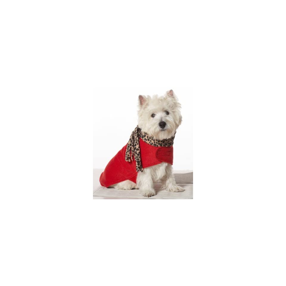 Fashion Pet Red Fleece Dog Coat with Leopard Scarf Large