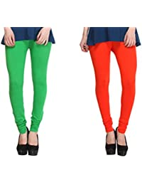 Leggings Free Size Cotton Lycra Churidar Leggings - Pack Of 2 Of Green & Orange Colour By SMEXY