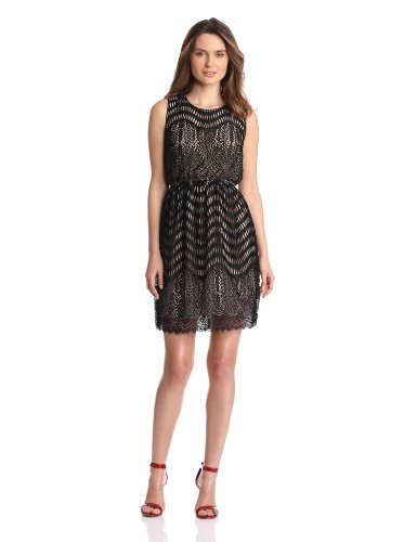 Anna Sui Women's Wavy Scallop Lace Dress, Black Multi, 2 US