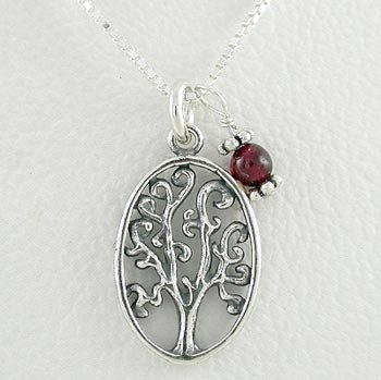 Sterling Silver Oval Tree of Life Pendant with Garnet Bead