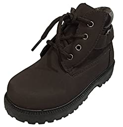 Toddler Boys Lace Up Boots, Winter Snow Boots - Brown, Grey, Black (9, Brown)
