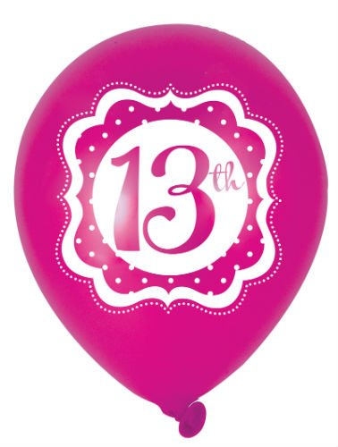 PERFECTLY PINK HAPPY 13TH BIRTHDAY LATEX BALLOONS