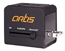 Artis UV200 Universal Travel Adapter/Converter/Charger with 2.1A USB Port (Black)