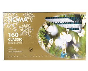 Noma 23.85m Length of 160 Clear Classic Shadeless Static Indoor Fairy Lights