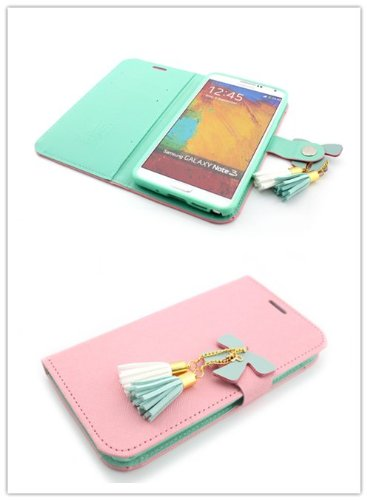 Big Dragonfly Sweet Butterfly Series Folio Wallet Pu Leather Cover Case For Samsung Galaxy Note 3 With Built-In Stand, Card Slots And Exiquite Magnetic Button Closure For Retail Packaging ( Light Pink )