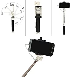 DMG Earldom ZP03 Aux Selfie Stick with Rubber grip for Android Smartphones and iPhones (Multi-colour)